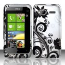 Hard Plastic Rubber Feel Design Case for HTC Radar 4G - Silver and Black Vines