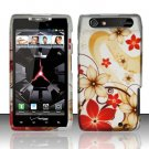 Hard Plastic Rubber Feel Design Case for Motorola Droid RAZR XT912 - Red and Gold Flowers
