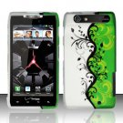 Hard Plastic Rubber Feel Design Case for Motorola Droid RAZR XT912 - Silver and Green Vines