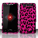 Hard Plastic Rubber Feel Design Case for Motorola Droid RAZR XT912 - Hot Pink Leopard