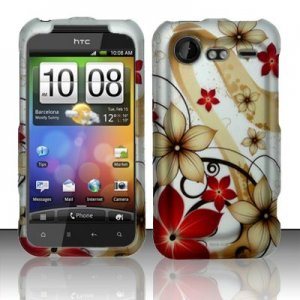 Hard Plastic Rubber Feel Design Case for HTC Incredible 2 6350 - Red and Gold Flowers