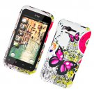 Hard Plastic Rubber Feel Design Case for HTC Rhyme/Bliss 6330 - Dual Pink Butterfly