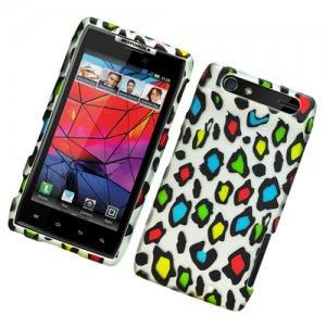 Hard Plastic Rubber Feel Design Case for Motorola Droid RAZR XT912 - Colorful Leopard