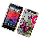 Hard Plastic Rubber Feel Design Case for Motorola Droid RAZR XT912 - Dual Pink Butterfly