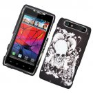 Hard Plastic Rubber Feel Design Case for Motorola Droid RAZR XT912 - Black Skull and Angels