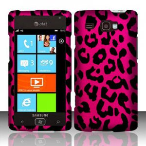 Hard Plastic Rubber Feel Design Case for Samsung Focus Flash i677 (AT&T) - Hot Pink Leopard