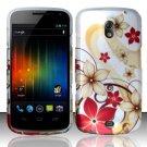 Hard Plastic Rubberized Design Case for Samsung Galaxy Nexus CDMA (Verizon/Sprint) - Gold Flowers