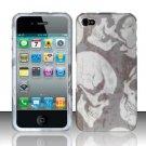 Hard Plastic Rubber Feel Design Case for Apple iPhone 4/4S - White Skulls