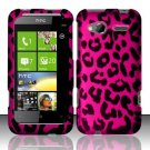 Hard Plastic Rubber Feel Design Case for HTC Radar 4G - Hot Pink Leopard