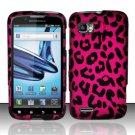 Hard Plastic Rubber Feel Design Case for Motorola Atrix 2 MB865 - Hot Pink Leopard