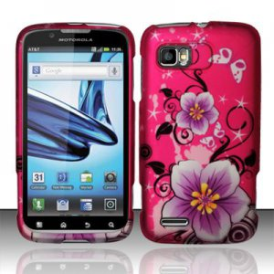 Hard Plastic Rubber Feel Design Case for Motorola Atrix 2 MB865 - Hot Pink Flowers and Butterfly