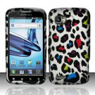 Hard Plastic Rubber Feel Design Case for Motorola Atrix 2 MB865 - Rainbow Leopard
