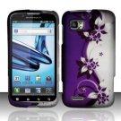 Hard Plastic Rubber Feel Design Case for Motorola Atrix 2 MB865 - Silver and Purple Vines