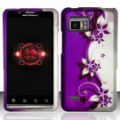 Hard Plastic Rubber Feel Design Case for Motorola Droid Bionic Targa XT875 - Silver and Purple Vines