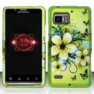 Hard Plastic Rubber Feel Design Case for Motorola Droid Bionic Targa - Green Flowers and Butterfly