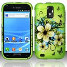 Hard Plastic Rubber Feel Design Case for Samsung Galaxy S II/Hercules - Green Flowers and Butterfly