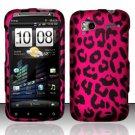 Hard Plastic Rubber Feel Design Case for HTC Sensation 4G - Hot Pink Leopard