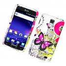 Hard Plastic Rubber Feel Design Case for Samsung Galaxy S II Skyrocket (AT&T) - Dual Pink Butterfly