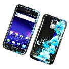 Hard Plastic Glossy Design Case for Samsung Galaxy S II Skyrocket i727 (AT&T) - Four Blue Flowers