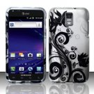 Hard Plastic Rubber Feel Design Case for Samsung Galaxy S II Skyrocket (AT&T) - Silver & Black Vines