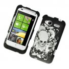 Hard Plastic Rubber Feel Design Case for HTC Radar 4G - Black Skull and Angels