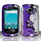Hard Plastic Rubber Feel Design Case for Samsung DoubleTime i857 - Silver and Purple Vines