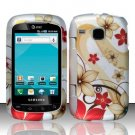 Hard Plastic Rubber Feel Design Case for Samsung DoubleTime i857 - Red and Gold Flowers