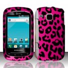 Hard Plastic Rubber Feel Design Case for Samsung DoubleTime i857 - Hot Pink Leopard