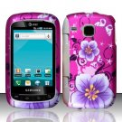 Hard Plastic Rubber Feel Design Case for Samsung DoubleTime i857 - Hot Pink Flowers and Butterfly