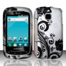 Hard Plastic Rubber Feel Design Case for Samsung DoubleTime i857 - Silver and Black Vines
