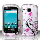 Hard Plastic Rubber Feel Design Case for Samsung DoubleTime i857 - Silver and Pink Flowers
