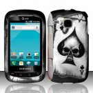 Hard Plastic Rubber Feel Design Case for Samsung DoubleTime i857 - Ace of Spade Skull