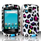 Hard Plastic Rubber Feel Design Case for Samsung DoubleTime i857 - Rainbow Leopard