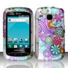 Hard Plastic Rubber Feel Design Case for Samsung DoubleTime i857 - Purple and Blue Flowers