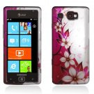 Hard Plastic Design Case for Samsung Focus Flash i677 (AT&T) - Hot Pink Flowers and Butterfly