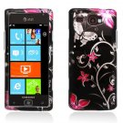 Hard Plastic Design Case for Samsung Focus Flash i677 (AT&T) - Pink Flowers and Butterfly