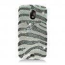 Hard Plastic Bling Rhinestone Design Case for Samsung Galaxy S II Skyrocket - Silver & Black Zebra