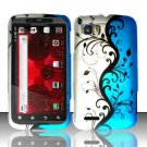 Hard Plastic Rubber Feel Design Case for Motorola Atrix 2 MB865 - Silver and Blue Vines