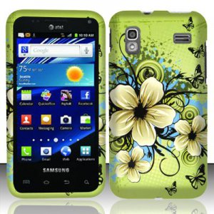 Hard Plastic Rubber Feel Design Case for Samsung Captivate Glide 4G - Green Flowers & Butterfly
