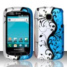 Hard Plastic Rubber Feel Design Case for Samsung DoubleTime i857 - Silver and Blue Vines