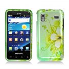 Hard Plastic Design Case for Samsung Captivate Glide 4G - Green Flowers and Butterfly