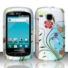 Hard Plastic Rubber Feel Design Case for Samsung DoubleTime i857 - Flowery Design
