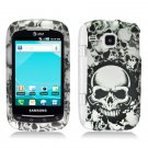 Hard Plastic Rubber Feel Design Case for Samsung DoubleTime i857 - White Skulls