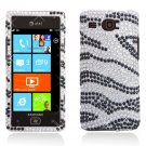 Hard Plastic Bling Rhinestone Design Case for Samsung Focus Flash i677 (AT&T) - Silver & Black Zebra