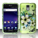 Hard Plastic Rubber Feel Design Case for Samsung Galaxy S II Skyrocket - Green Flowers & Butterfly