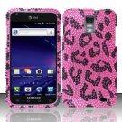 Hard Plastic Bling Rhinestone Design Case for Samsung Galaxy S II Skyrocket i727 - Hot Pink Leopard