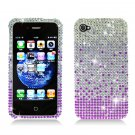 Hard Plastic Bling Rhinestone Design Case for Apple iPhone 4/4S - Purple Waterfall