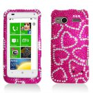 Hard Plastic Bling Rhinestone Design Case for HTC Radar 4G - Hot Pink Hearts
