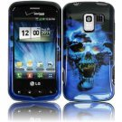 Hard Plastic Design Case for LG Enlighten VS700/Optimus Slider LS700 - Blue Skull