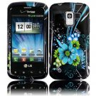 Hard Plastic Design Case for LG Enlighten VS700/Optimus Slider LS700 - Black and Blue Flower